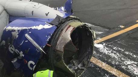 The engine of a Southwest Airlines plane that