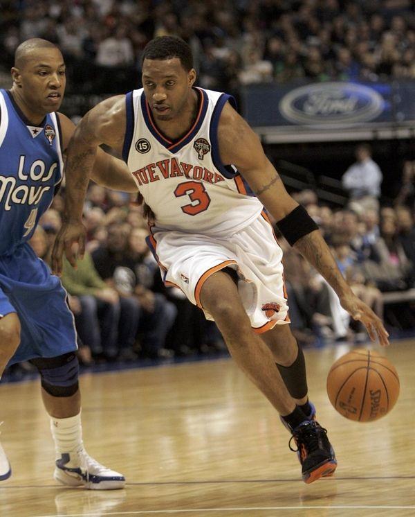 Knicks guard Tracy McGrady (3) drives the lane