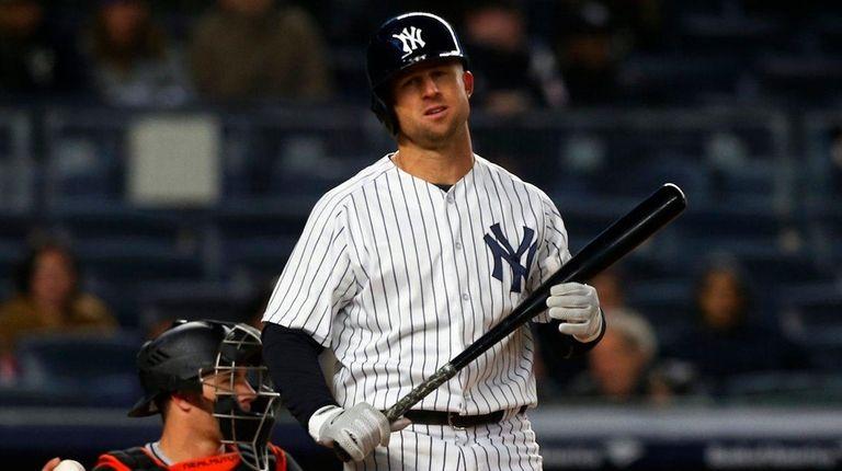 Brett Gardner of the Yankees strikes out in
