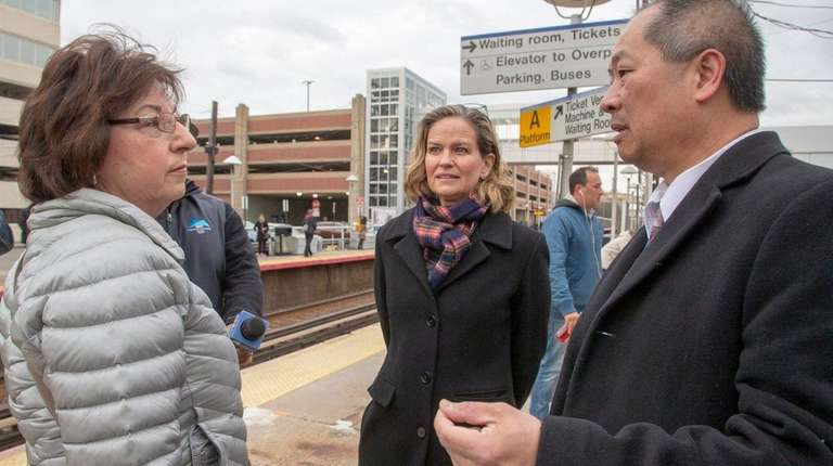 New LIRR president Phillip Eng speaks with commuter