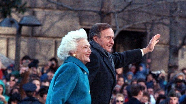 President George H.W. Bush with first lady Barbara