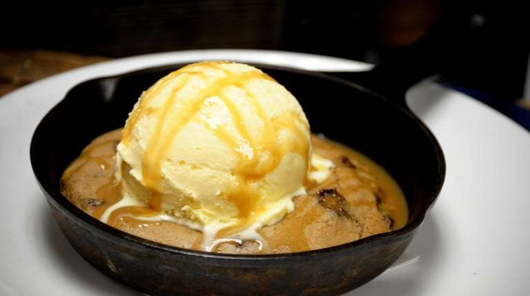 The iron skillet cookie (warm-from-the-oven chocolate chip, topped