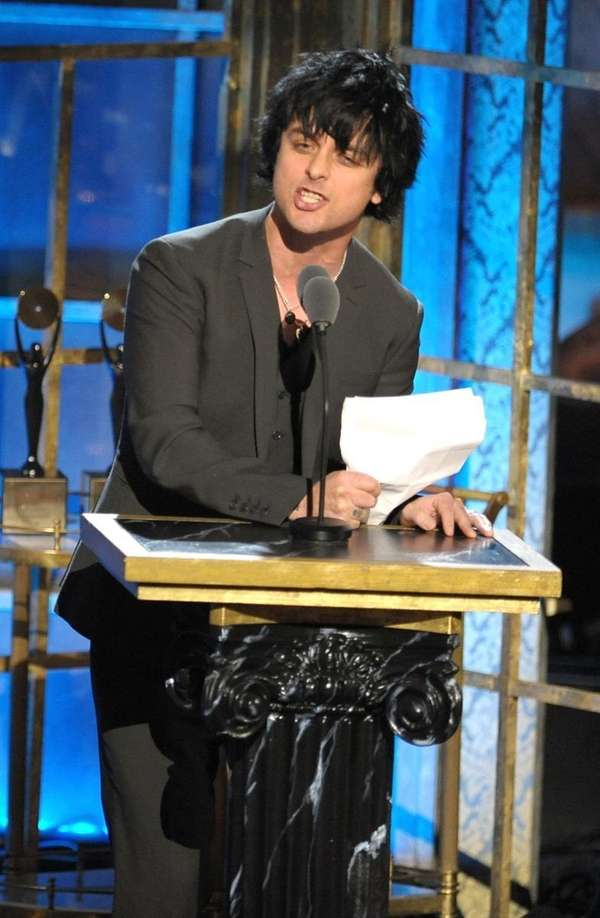 Green Day's Billie Joe Armstrong speaks onstage at