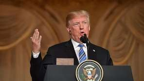 President Donald Trump speaks during a news conference