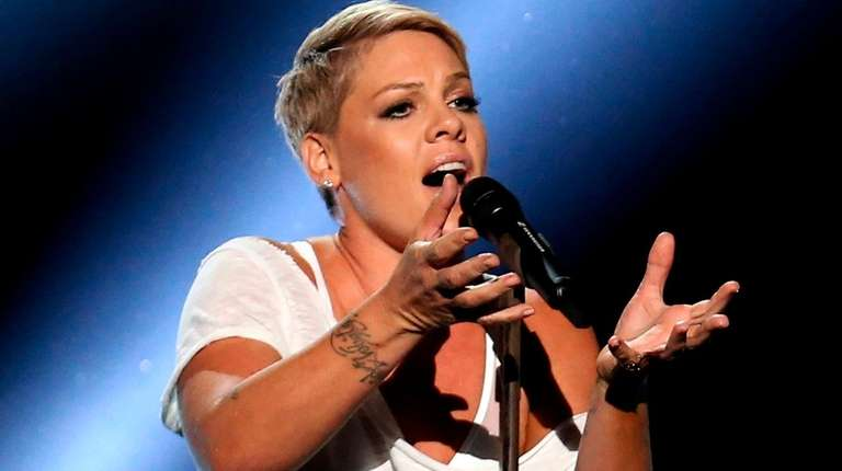 Pink performs during the Grammy Awards at Madison