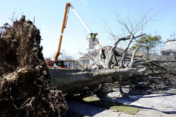 Crews from the Long Island Power Authority and