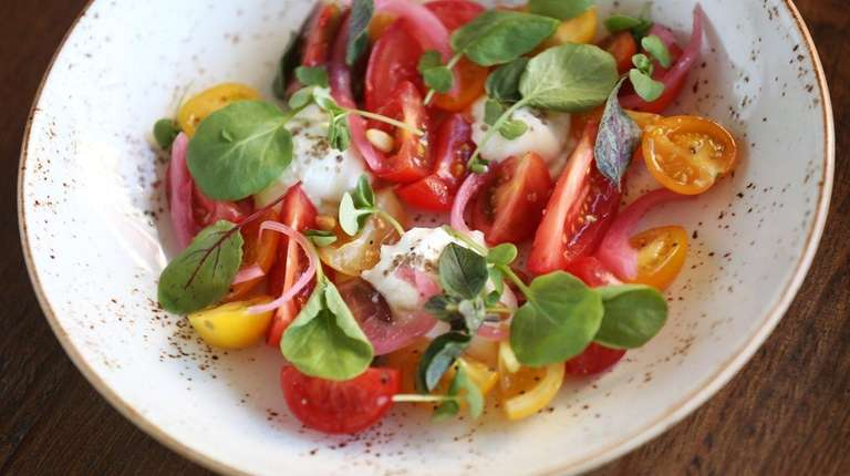 Vegetables, as in this tomato salad, are central