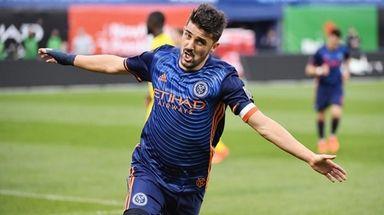 David Villa of NYCFC celebrates after scoring his