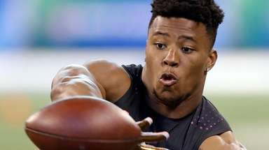 Penn State running back Saquon Barkley participates at