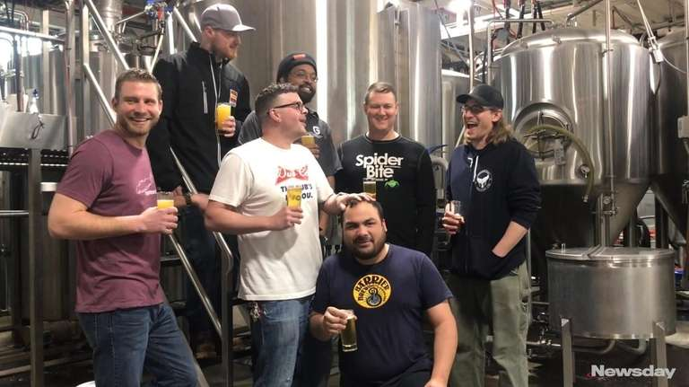 Seven Long Island brewers gathered Thursday at Barrier