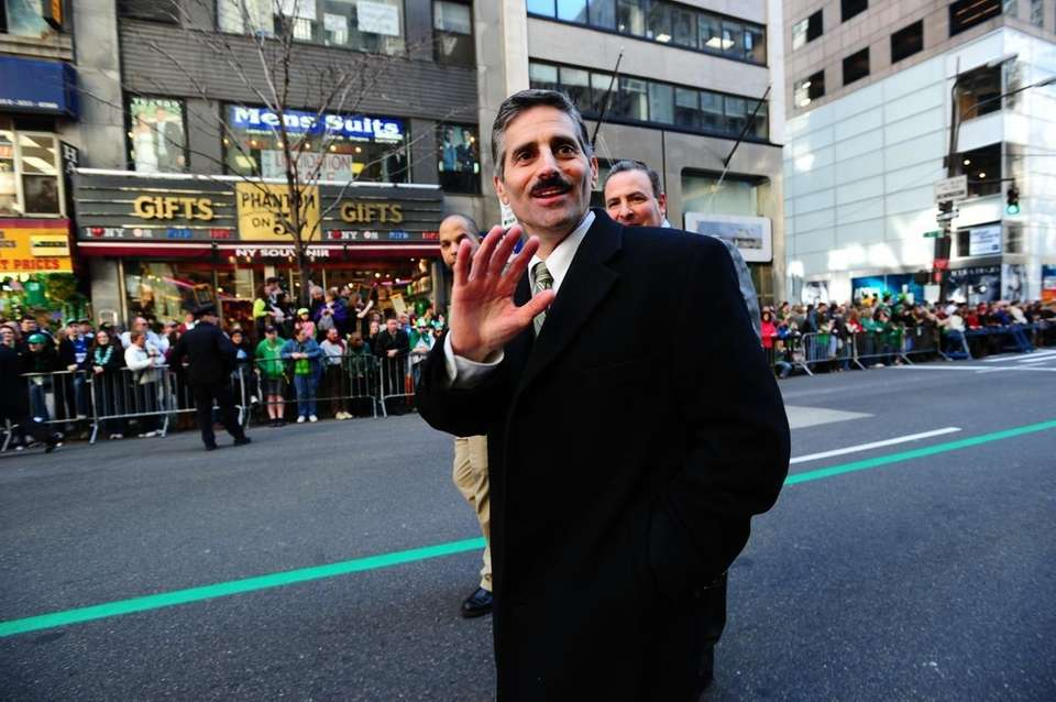 Suffolk County Executive Steve Levy marches in the