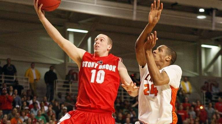 Stony Brook's Bryan Dougher finishes off a steal