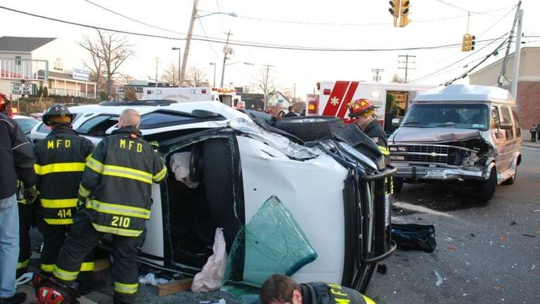 One person was injured Wednesday in a two-car