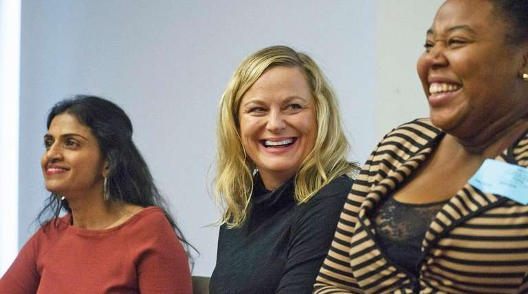 Actress Amy Poehler rallies in February for tipped