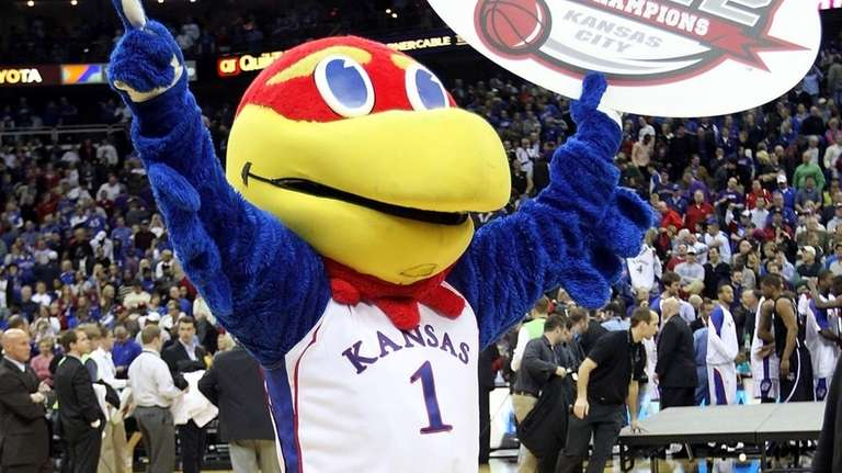 The Kansas Jayhawk mascot celebrates with a championship