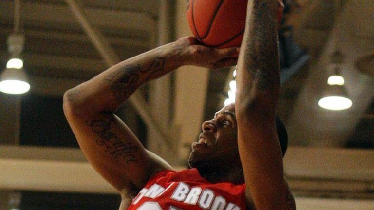 Stony Brook's Muhammad El-Amin shoots a three-pointer in