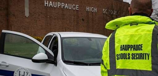 A security officer at Hauppauge High School on
