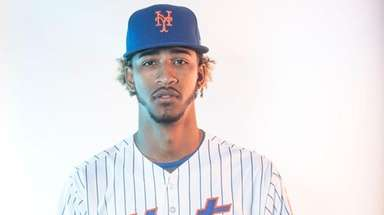 Mets pitcher Gerson Bautista during photo day on