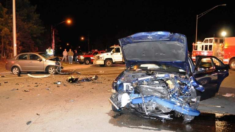 Two cars were involved in a head-on collision