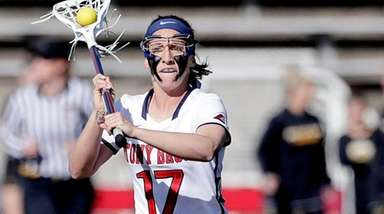 Stony Brook attack Kylie Ohlmiller passes during the