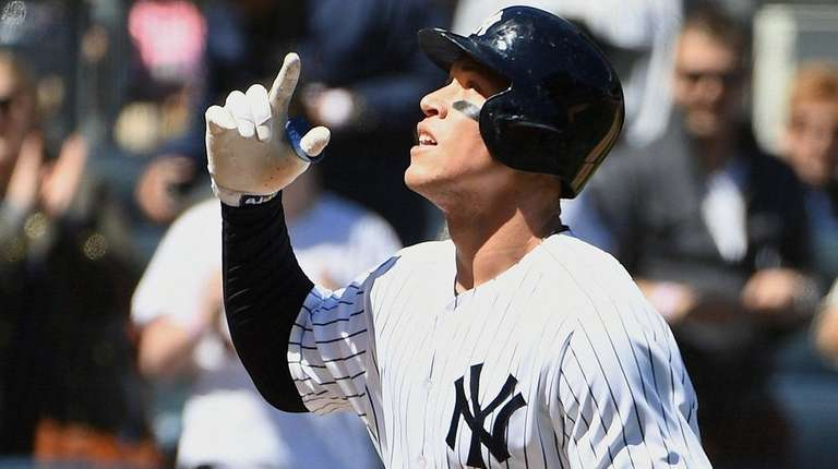 Yankees rightfielder Aaron Judge reacts after his two-run
