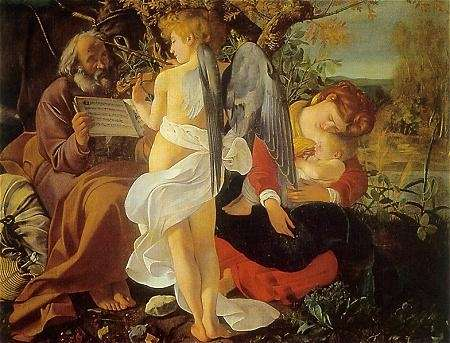 St. Joseph, left, with an angel, the Virgin