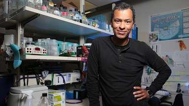 Dr. Lloyd Trotman in his lab on April