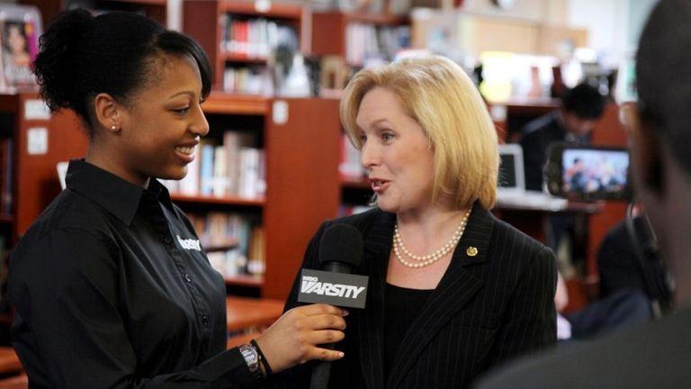 Senator Kirsten Gillibrand speaks to a Westbury High
