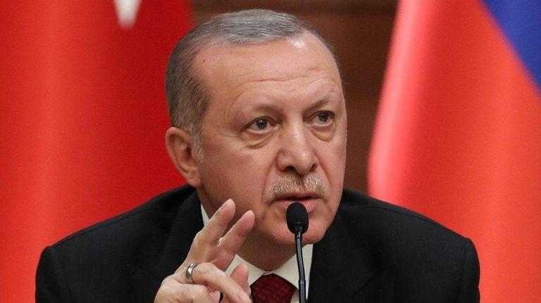 Turkish President Recep Tayyip Erdogan speaks during a