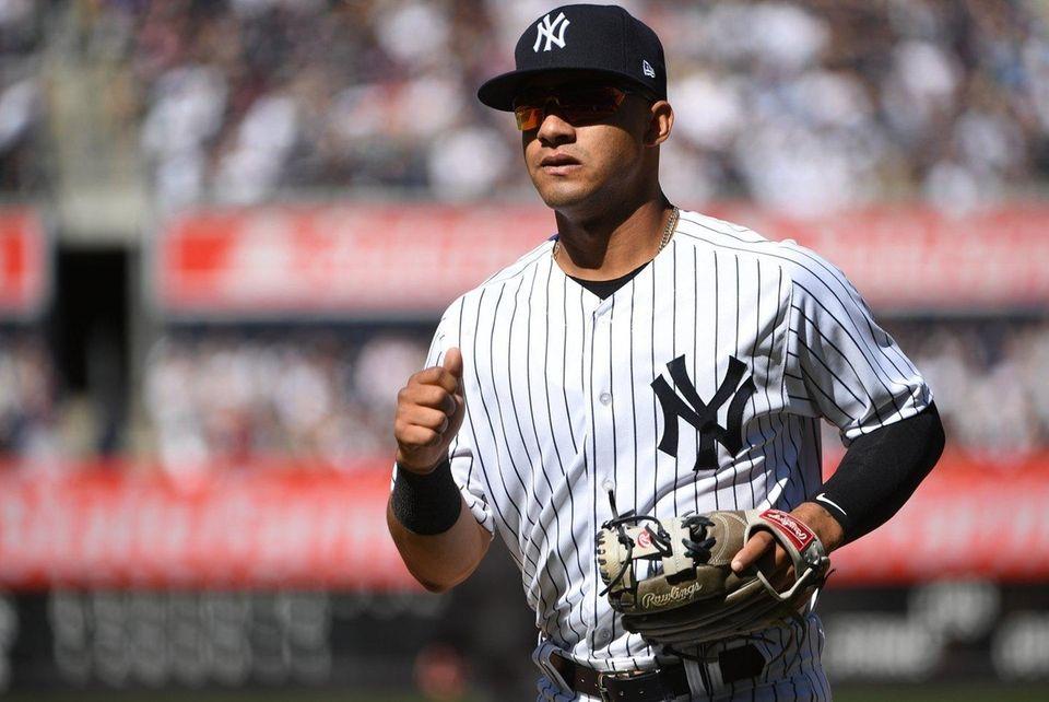 Yankees second baseman Gleyber Torres runs to the