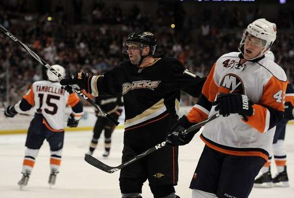 Anaheim's Lubomir Visnovsky celebrates his first goal of