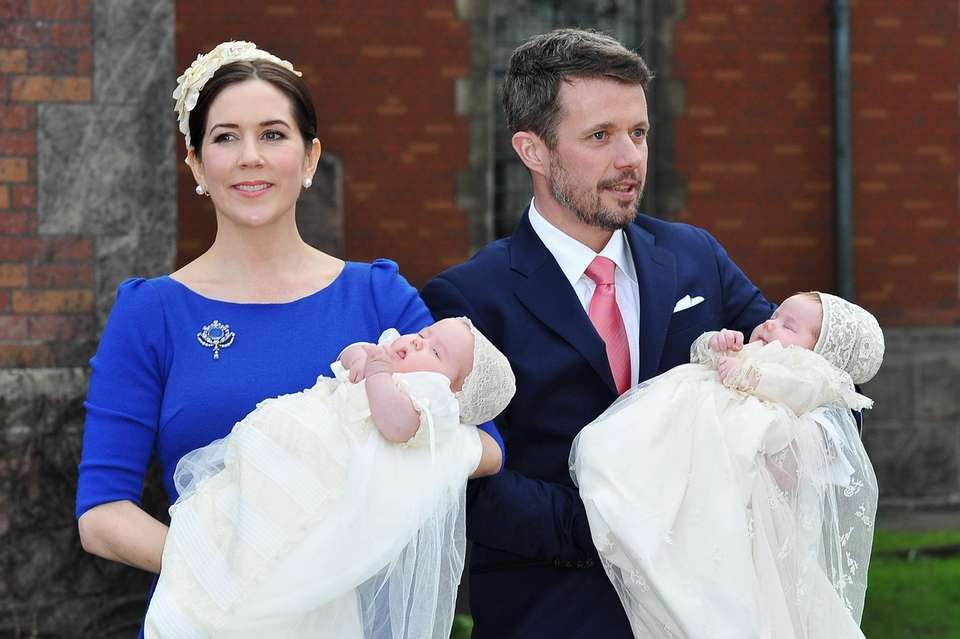 Denmark's Princess Mary and Prince Frederik pose after