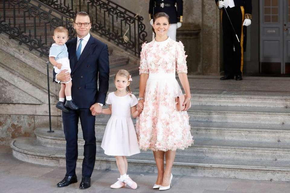 Sweden's Prince Daniel poses with wife Princess Victoria