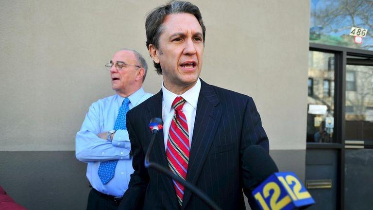 Republican Rick Lazio addresses reporters in Bay Ridge