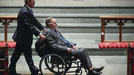 Former President George H.W. Bush is seen wearing