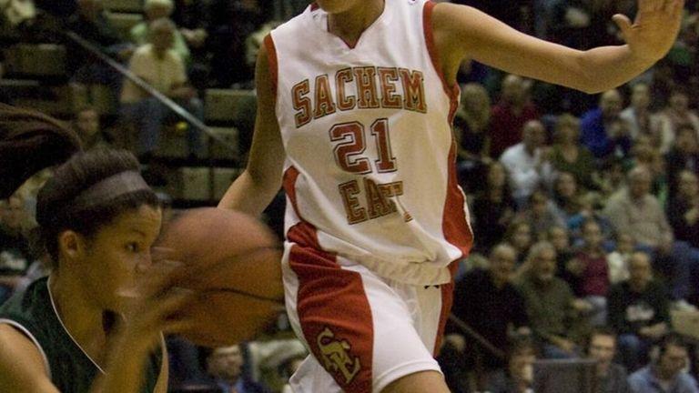 Sachem H.S. East's Kristen Doherty stops Marissa Guy