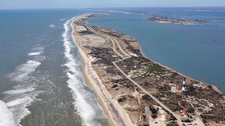 Shown is the shoreline of Fire Island and