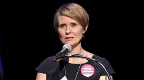 Actress Cynthia Nixon speaks onstage at The People's