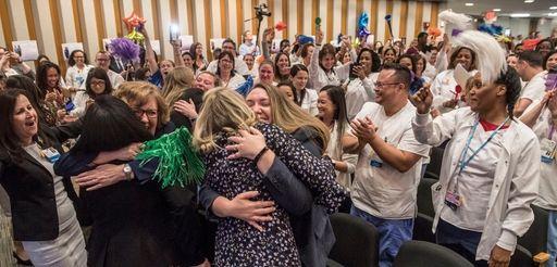 Nurses at North Shore University Hospital celebrate Monday
