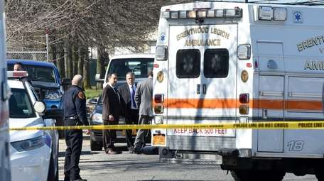 Investigators in Bay Shore Monday where authorities said