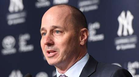 Yankees general manager Brian Cashman speaks during a