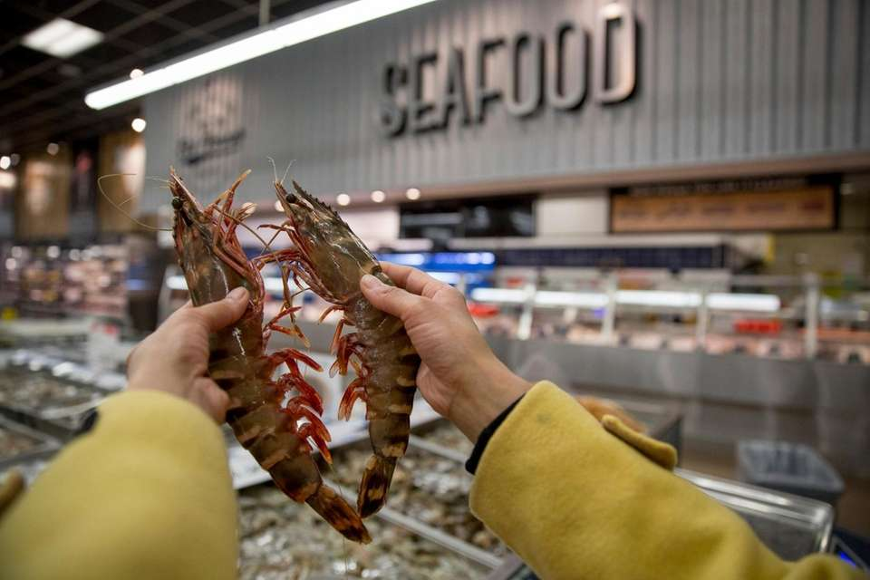 Wild caught black tiger shrimp in Hmart's fish