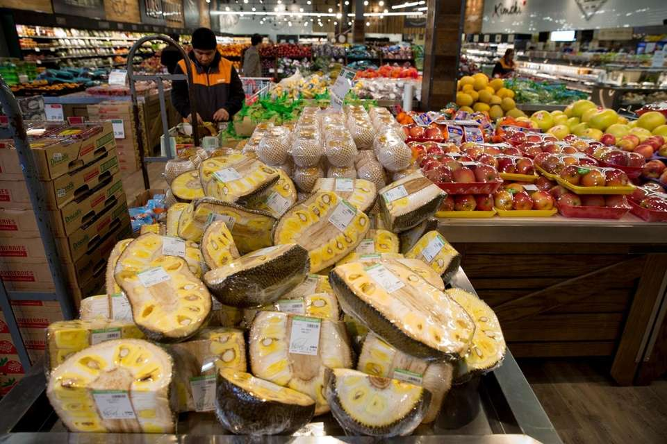 Hmart's vast produce section offers Jackfruit, a rarity