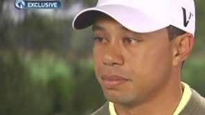 In this frame grab, Tiger Woods speaks with