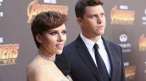 Scarlett Johansson and Colin Jost attend the Los