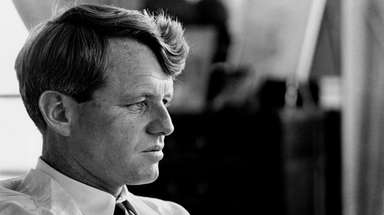 Robert Kennedy in his New York City apartment