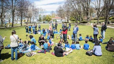 The Elmont school district brought students out to