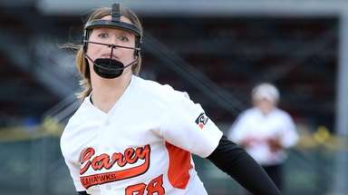 Carey's winning pitcher Jacqueline Schemmer during Carey's 5-2