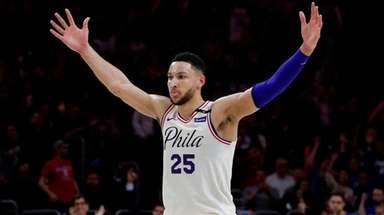 The 76ers' Ben Simmons reacts to his assist