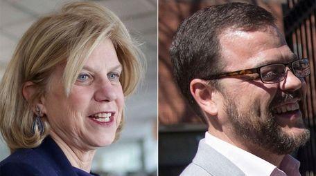 Democratic Assembs. Shelley Mayer, left, and Luis Sepulveda